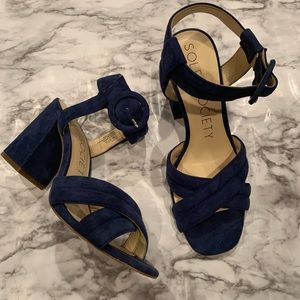Sole Society Navy Blue Velvet High Heel Shoes